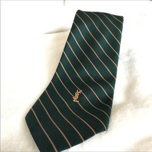 Yves Saint Laurent Green Striped Tie